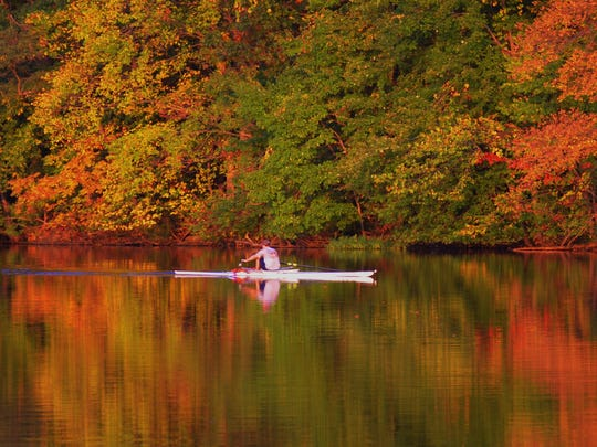 Fall is the perfect time for this sculler to take in sights of the Pennsylvania foliage.