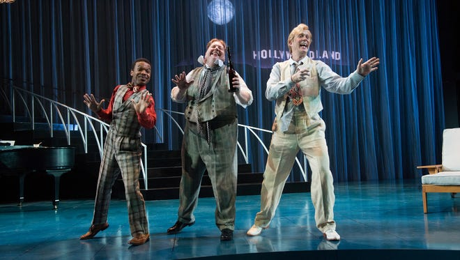 "Feste (Rodney Gardiner), from left, Toby Belch (Daniel T. Parker) and Andrew Aguecheek (Danforth Comins) are always the life of the party in ""Twelfth Night"" at Oregon Shakespeare Festival in Ashland. The production is set in 1930s Hollywood and runs Feb. 19-Oct. 30."
