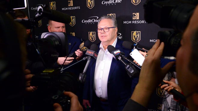 Vegas Golden Knights NHL hockey team general manager Kelly McCrimmon holds a news conference in Ottawa, Wednesday, Jan 15, 2020. Head coach Gerard Gallant was fired less than two years after leading the Golden Knights to the Stanley Cup Final. Peter DeBoer will be the coach for the rest of the season.