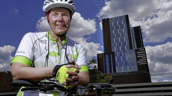 Westerville resident Cathy Disher, a chaplain at the Ohio State University's James Cancer Center, is taking part in the 2020 Pelotonia fundraiser by climbing the 21 floors of stairs at the James hospital 19 times as a member of Team Buckeye-Champion Chaplains in honor of former patient Robyn Ulrich. She also is still finding time to ride her bicycle.