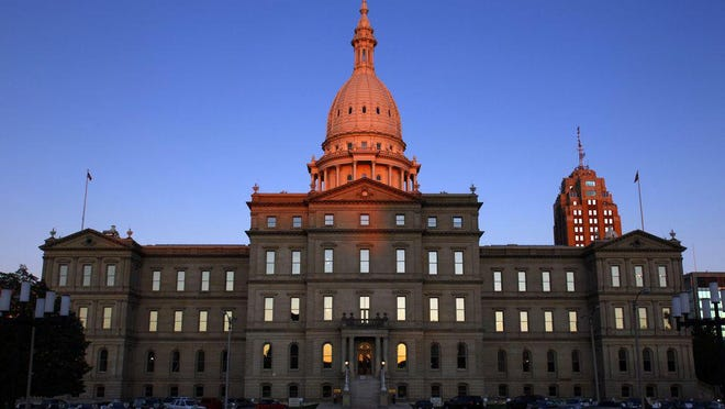 The state capitol in Lansing, Michigan is pictured.