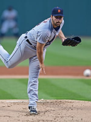 Tigers pitcher Michael Fulmer delivers in the first inning against the Cleveland Indians on Sept. 16, 2016 in Cleveland.