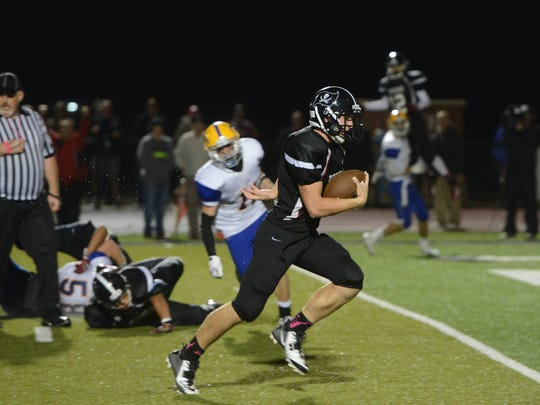 Perkins Matt Schweinfurth slips past the Clyde defense to score the go-ahead touchdown in the final minute of play Friday.