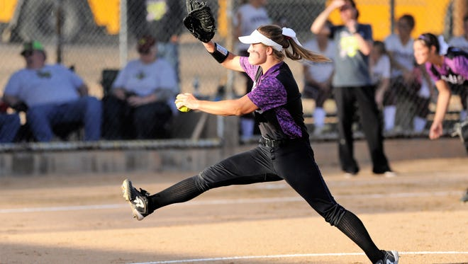 Wylie pitcher Kaylee Philipp (3) goes through her windup during the Lady Bulldogs' 4-3 loss to Vernon on Friday in Game 2 of the bi-district playoffs at Cates Field in Snyder.