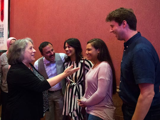Knoxville Mayor Madeline Rogero welcomes Jon Heder to Knoxville during a premier of The Tiger Hunter at the Regal Riviera Stadium on Monday, September 18, 2017.