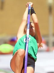 Woodboro's Skylar Hall competes in the 2A girls pole vault during the UIL State Track & Field Championships on Friday, May, 12, 2017, at Mike A. Myers Stadium in Austin.