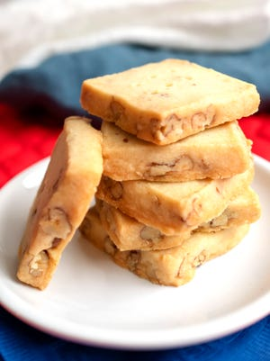 Toasted Pecan Shortbread stays crisp and is not as sweet as many cookies.