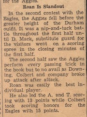 Newspaper clipping about Sanford Roan playing basketball