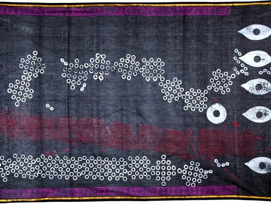 """Monica Jahan Bose's """"Hawa,"""" a woodblock print on a"""