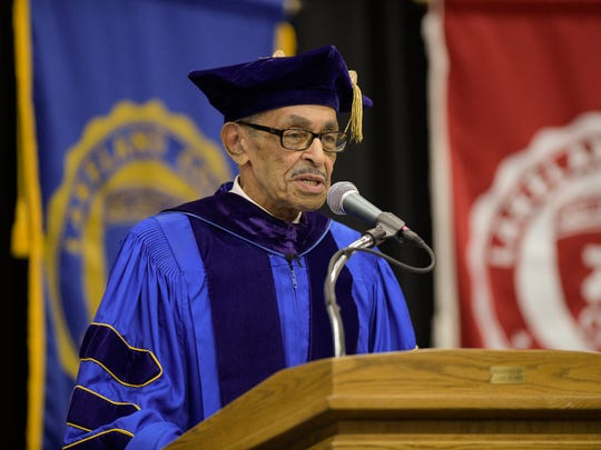 J. Garland Schilcutt, who is retiring from Lakeland's faculty after 57 years, delivers the commencement address Sunday during graduation.