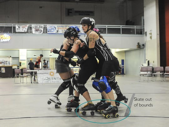 Britt-knee Basher, No. 103, can't improve her position in the pack after leaving the track. By knocking Britt-knee out, the skater next to her has taken her position. Entering in front of that skater is an improvement, and therefore a penalty.