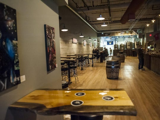 Ten Mile Creek Brewery's tables and bar were made from