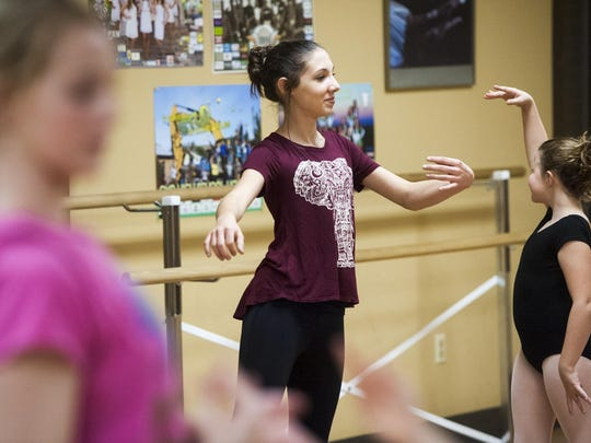 Jasmine Dougherty, 14, rehearses for her parts as a