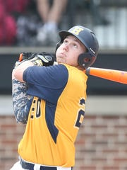 Hartland's Thomas Rivet grounds out during the sixth inning against Grand Rapids Kenowa Hills in the Division 1 state semifinal on Thursday at McLane Baseball Stadium  in East Lansing.
