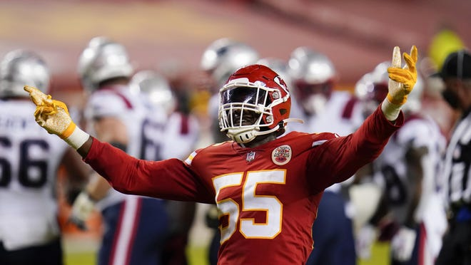 Kansas City Chiefs defensive end Frank Clark celebrates after a sack during the second half of Monday's win over New England. The Chiefs' defense has been somewhat unheralded in the team's 4-0 start.