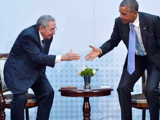 U.S. President Barack Obama, right, and Cuba's President