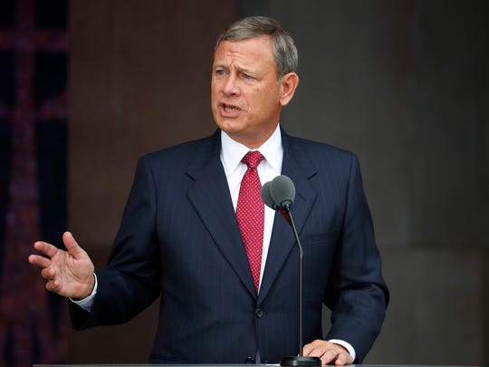FILE - In this Sept. 24, 2016, file photo, U.S. Supreme Court Chief Justice John Roberts speaks in Washington. Roberts used his annual report on the federal judiciary Sunday, Dec. 31, 2017, to promise a careful evaluation of its sexual misconduct policies and to highlight the work of court employees following the year's destructive hurricanes.
