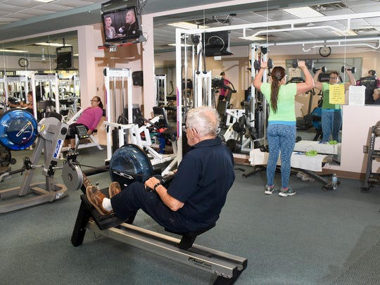 Scott Mahon, 87, exercises on Wednesday at the city of Bloomfield's Fitness Center.