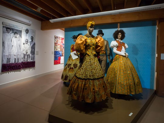 "Gallery view of ""The Fabric of Emancipation,"" curated by Harlem Needle Arts, on view at Rokeby Museum through Oct. 28."