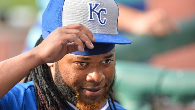 Royals starting pitcher Johnny Cueto stands in the dugout prior to Tuesday's game against the Cleveland Indians.