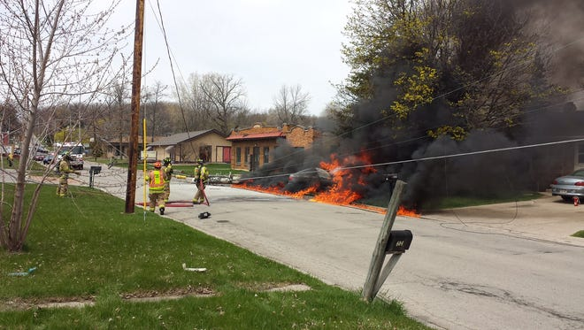 An Allouez man died early Friday afternoon in a fiery one-car crash.
