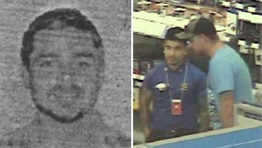 """Las Cruces police suspect the man in the top photo, left, and pictured talking to a Best Buy employee, right, used fake identification in the fraudulent purchase of three vehicles and merchandise totaling nearly $90,000. Police the believe the man pictured in the bottom photo also used a fake ID to try to purchase a motorcycle, but was """"unsuccessful."""""""