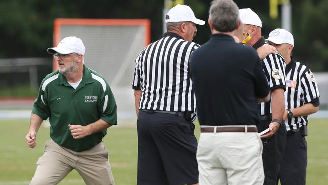 Yorktown's Dave Marr unhappy with an official's call late in the game against Jamesville-DeWitt in NYSPHSAA Class B championship lacrosse game at Middletown High School June 11, 2016.