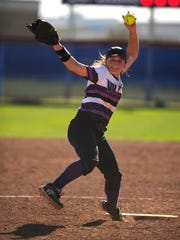 Wylie pitcher Kaylee Phillip (3) throws a pitch during the bottom of the third inning of the Lady Bulldogs' game against Wall in the Abilene Icebreaker softball tournament on Thursday, Feb. 23, 2017, at Cooper High School.