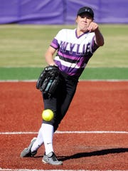 Wylie pitcher Kaylee Philipp (3) lets a pitch go during