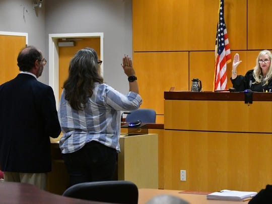 The sentencing of James and Lisa McDermott by Circuit Judge Morgan Laur Reinman in Viera. James was sentenced to over 34 months, and Lisa , seen here, was then sentenced to one year probation.