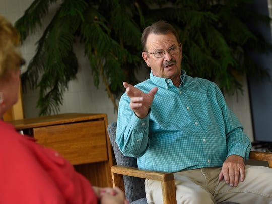 Mike Redmond talks about his work helping people overcome addictions during an interview Wednesday, June 1 in St. Cloud.