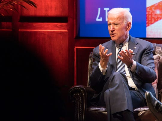 Former Vice President Joe Biden speaks at Vanderbilt University in Nashville, Tenn., Tuesday, April 10, 2018.