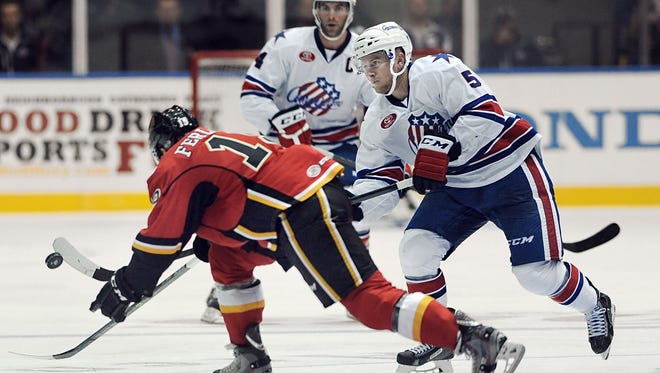 Chad Ruhwedel, shown here during the season opener, scored the overtime goal as the Amerks defeated Hamilton.