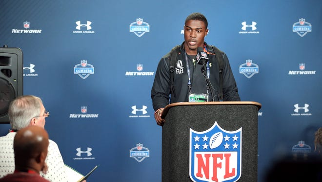 Indiana University running back Tevin Coleman fields questions from the media during the NFL Combine held at Lucas Oil Stadium on Thursday, Feb. 19, 2015.