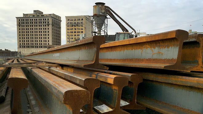 Rails for the M1-Line sit in a lot west of Woodward Ave, in front of the old Park and Eddystone Hotels.