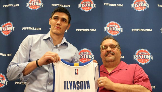 Detroit Pistons head coach Stan Van Gundy introduced newly acquired forward Ersan Ilyasova to the media on  June 16, 2015 at Pistons practice facility in Auburn Hills.