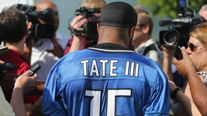 Detroit Lions receiver Golden Tate III talks with reporters after practice June 16, 2015, in Allen Park.