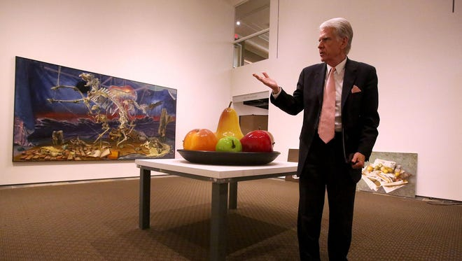 """John Olbrantz, director of Hallie Ford Museum of Art, discusses """"Stilleven: Contemporary Still Life,"""" which is on exhibit through Dec. 20. Olbrantz organized the show with Jonathan Bucci, the museum's collection curator."""