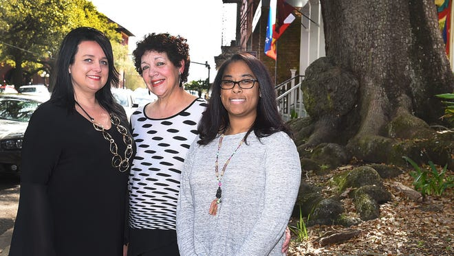 From left are Vera Nagy, owner of Sophisticated Look and Farfallina; Wanda Juneau, owner of Back in Time restaurant; and Nekeeta Guillory, owner of Art Box Studio and Gallery. All three businesses are located in downtown Opelousas.