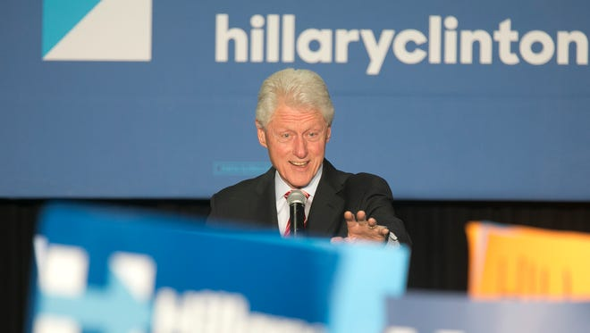 Former president Bill Clinton speaks during a rally for Hillary Clinton on April 7, 2016, in Philadelphia.