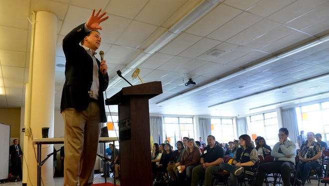 Gov. Steve Bullock provides the morning keynote address to the Montana Native Youth Conference at Paris Gibson Education Center. About 250 students from 24 schools around Montana attended the three-day conference in Great Falls.