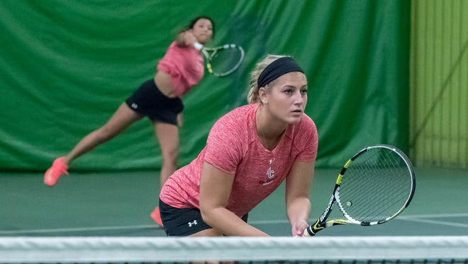 Former Lakveview High School tennis athlete Lydia Drikakis during a conference match at Minges Creek Athletic Club last Saturday.