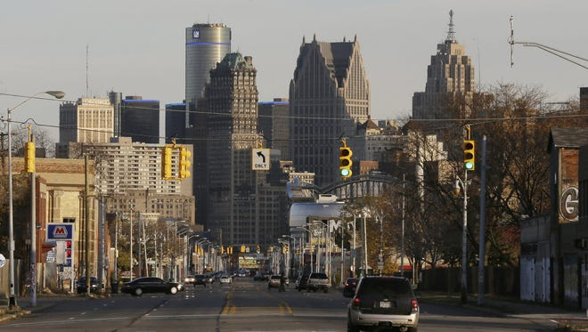 The skyline of the city of Detroit is seen from the west on Friday, Nov. 7, 2014.