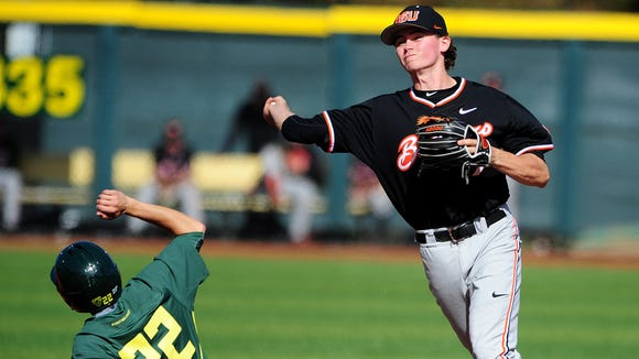 Oregon State shortstop Trever Morrison has appeared in 155 games in three seasons for the Beavers.