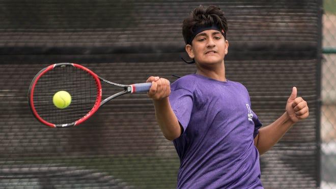 Lakeview High School sophomore Jai Barerji during the All-City Tennis on Thursday.