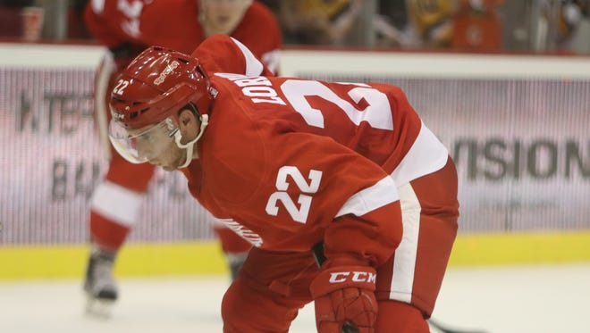 Red Wings forward Matt Lorito skates during the third period of the Red Wings' 4-2 exhibition win over the Penguins Tuesday at Joe Louis Arena.