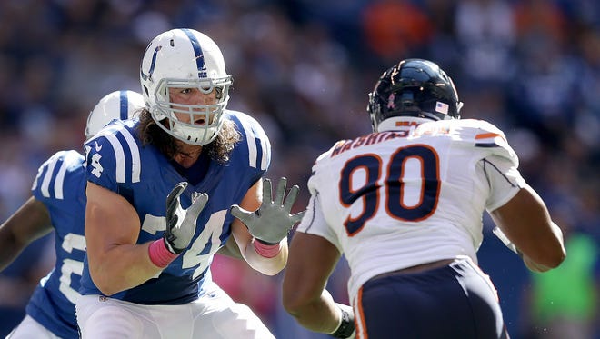 Indianapolis Colts tackle Anthony Castonzo (74) drops back to block Chicago Bears defensive end Cornelius Washington (90) in the second half of their game earlier this season.