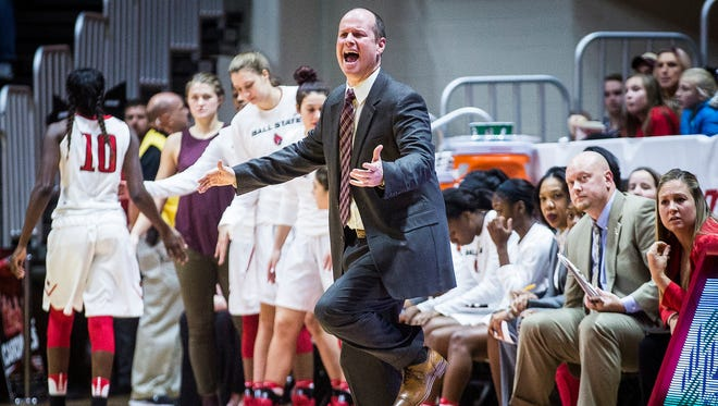 Head coach Brady Sallee reacts during Ball State's  game against Purdue at Worthen Arena Thursday, Dec. 8, 2016.