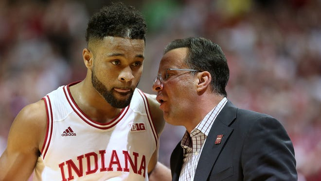 Indiana Hoosiers head coach Tom Crean gives direction to Indiana Hoosiers guard James Blackmon Jr. (1) during first half action between the Indiana Hoosiers and the North Carolina Tar Heels at Assembly Hall, Bloomington, Ind., Wednesday, Nov. 30, 2016.