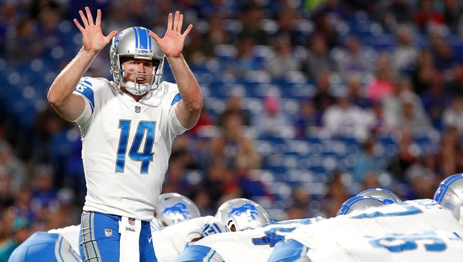 Aug 31, 2017; Orchard Park, NY, USA; Lions quarterback Jake Rudock audibles in the first half against the Bills at New Era Field.